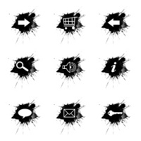 Ink splatter, internet icons set on white background