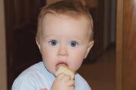 Cute baby boy eating bread