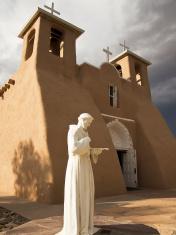 Saint Francis Statue With Church