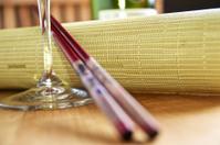 Chopsticks and Wine glass