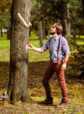 lumberjack juggling with axe