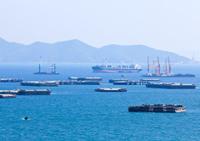 ship and boat at Sichang Island ,Chonburi, Thailand.