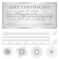 Silver Gift certificate (voucher / coupon) guilloche pattern (ba