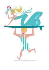 Surf Wedding couple