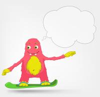 Funny Monster. Snowboarding.