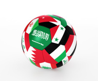 Soccer ball with flags of the Asian countries, isolated