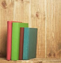 Books on the brown bookshelf