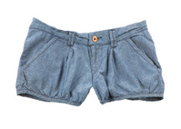 Denim shorts with wooden button