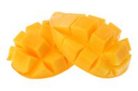 Sliced mango isolated on white