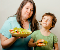 teasing fat woman with hamburger
