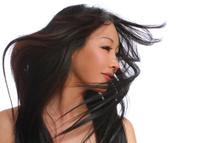 Beautiful woman with long brown hair. fashion model