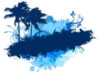 Grunge blue palms banner