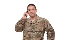 Portrait of a army veteran talking on the phone