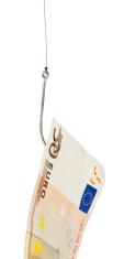 money on hook in white background
