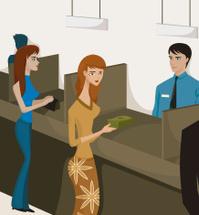 women at bank tellers