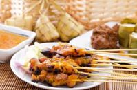 Chicken satay and ketupat