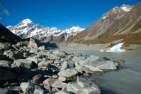 View and glacier in Mount Cook National Park, New Zealand