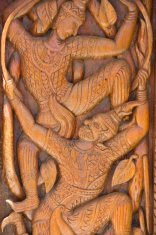 Wood carving decorated at windows of the temple, Ubonratchathani