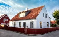 White house in the center of Skagen, jutland