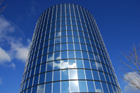 Tall cylindrical glass building