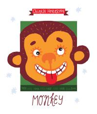 monkey. horoscope vector drawing.