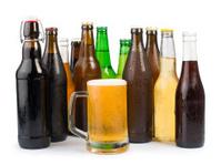 Bottles of beer and mug.