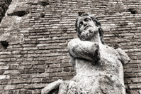 Statue of man with no hands, Sforza's Castle in Milan