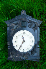 retro Soviet clock on the grass