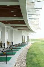 closeup of golf practice fields