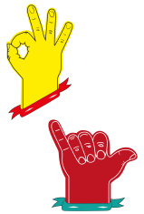hand signs ok and rock and roll
