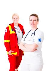 Emergency response team of doctors posing in studio