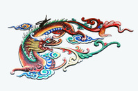 Chinese dragon culture on the wall.