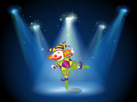 Stage with a playful clown