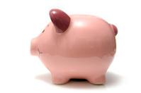 Pink piggy bank style money-box