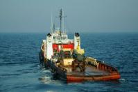 Anchor vessel at sea.