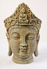 Japanese Oriental Female Goddess Stone Statue Head Bust