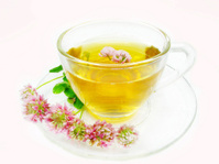 herbal tea with pink clover flowers