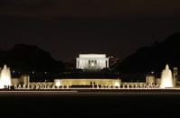Lincoln and World War II Memorials at night, Washington DC
