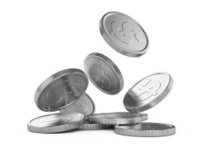 silver falling coins
