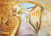 watercolor painting, urban landscape