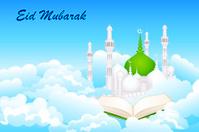 Quran on Eid Mubarak background