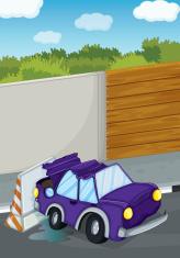violet car bumping the wall