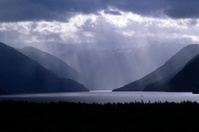 Clearing Storm and Ferry, Lake Te Anau, New Zealand