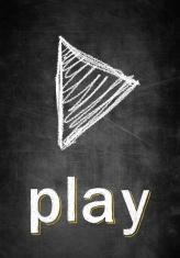 Play symbol on chalk board conceptual sketch