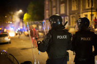 Police defending riot