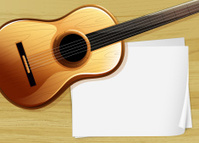 guitar with an empty bondpaper