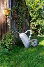 Shed with wheelbarrow