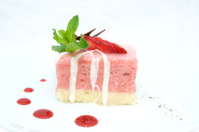 cream dessert with strawberry