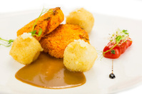 Carrot cutlets and potato croquettes