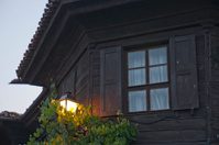 Wooden house and lantern
